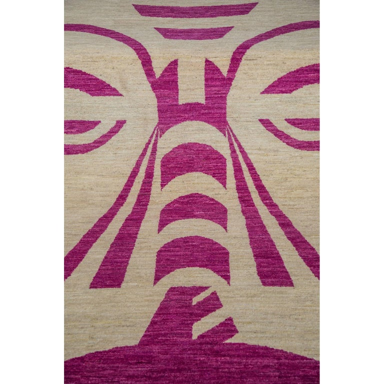 Tribal Rug Nz: Hand Knotted Cream Geometric Wool Rug W/ Pink Tribal Face