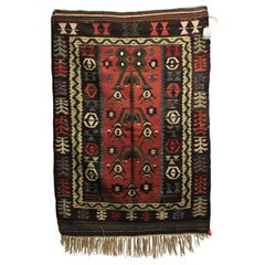 Tribal Print Handwoven Wood Turkish Kilim