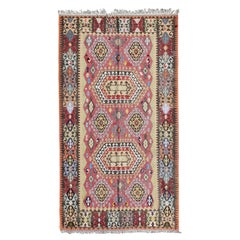 Tribal Print Wool Turkish Kilim with Red, Brown, and Blue Tones