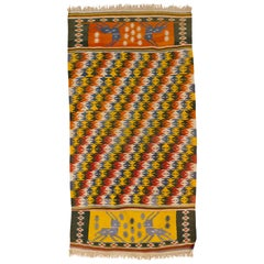 Tribal Rajasthani Multi-Color Indian Cotton Dhurrie Rug with Deer Motif