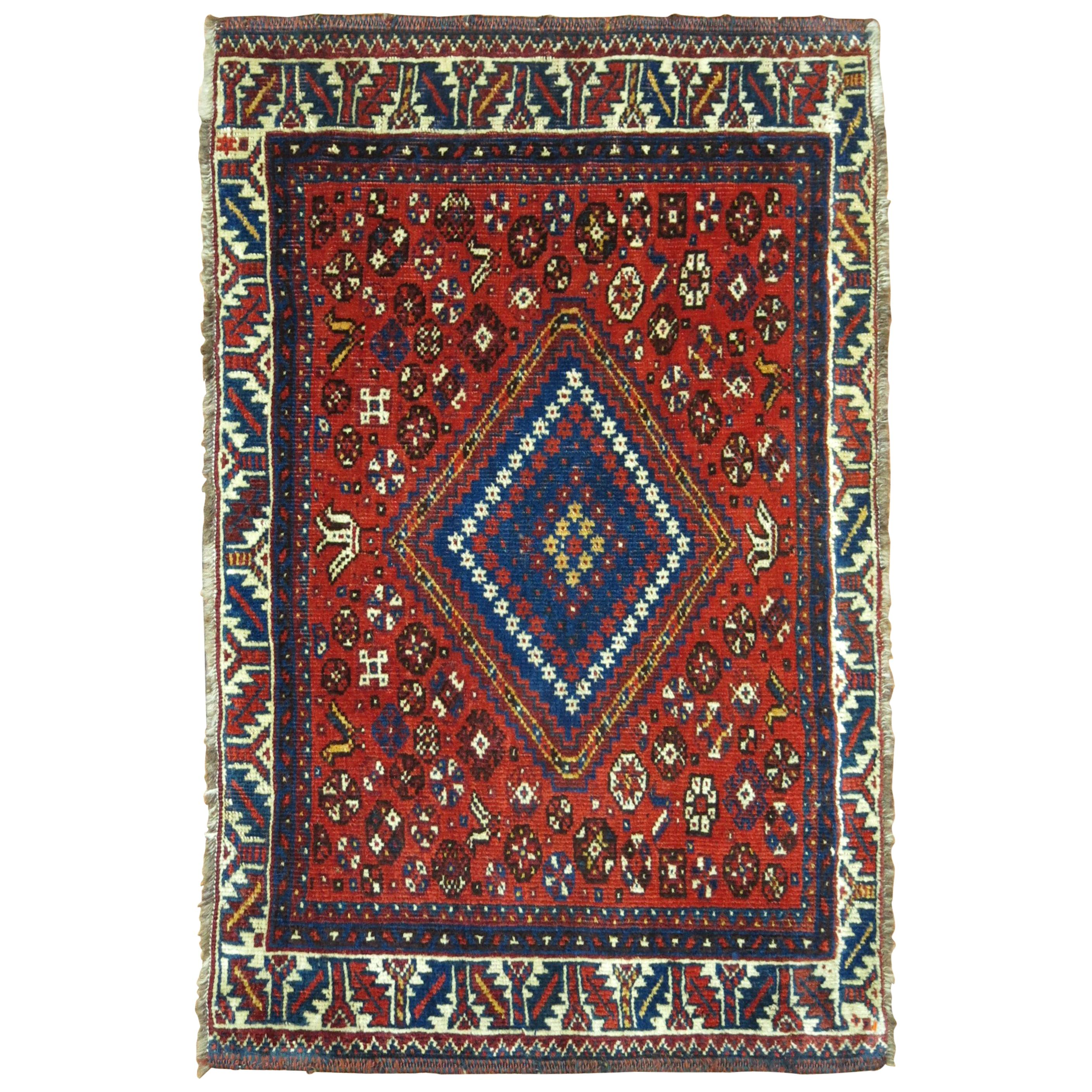 Tribal Red Blue Antique Persian Rug Mat