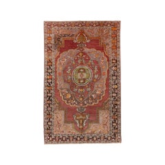 Tribal Red Field Turkish Oushak Rug, Warm Colors