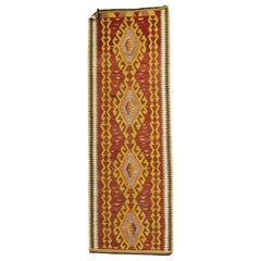 Tribal Red Turkish Kilim Runner, 20th Century