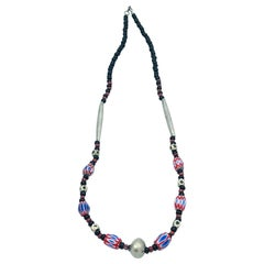 Tribal Red White Blue Painted Bead Necklace Mali, Africa