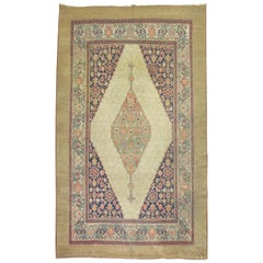 Tribal Room Size 19th Century Persian Camel Color Green Medallion Rug