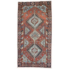Tribal Rustic Persian Heriz Scatter Rug, Early 20th Century