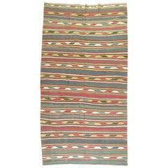 Tribal Rustic Persian Wool Handmade Kilim Green Mustard Red Accent