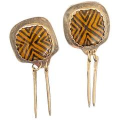 Tribal Set, Mineral Earrings Made of Sterling Silver BV Shirley Designer
