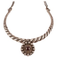 Tribal Silver Torque Necklace with Garnet from India