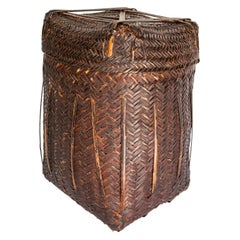 Tribal Storage Basket Box with Lid from the Magar of Nepal, Mid-20th Century