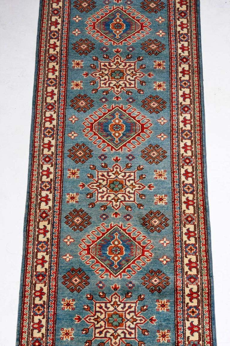 Contemporary Pakistani Kazak Style Runner Rug In Excellent Condition For Sale In Oakland, CA