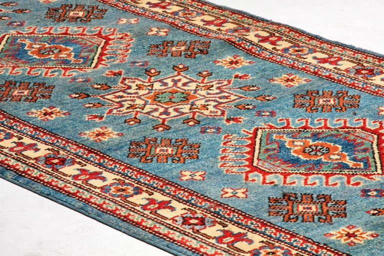 Wool Contemporary Pakistani Kazak Style Runner Rug For Sale