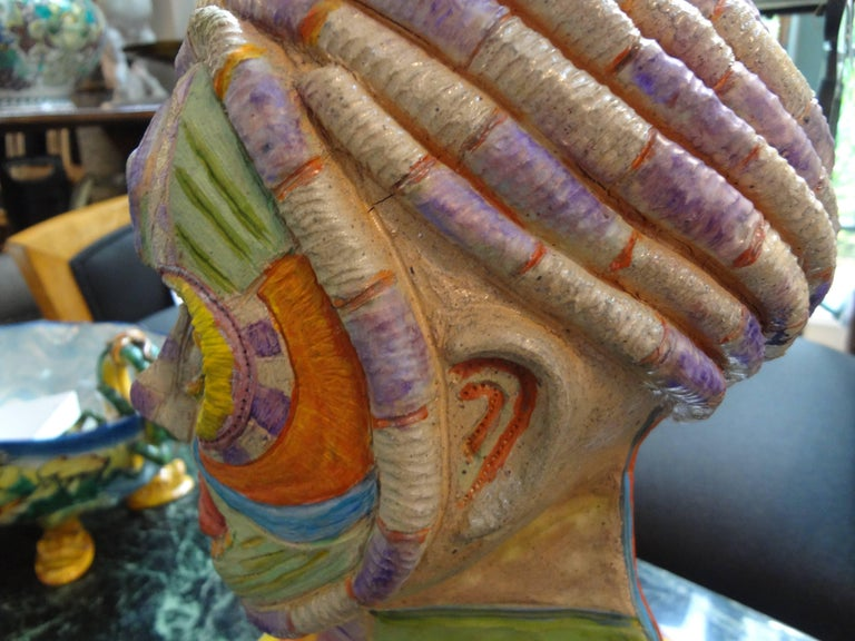 Tribal Style Clay Bust Sculpture, 20th Century For Sale 4