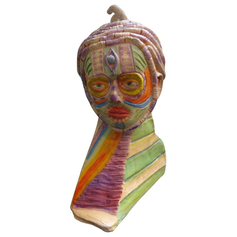 Tribal Style Clay Bust Sculpture, 20th Century For Sale