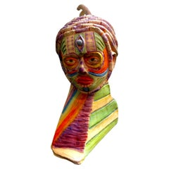 Tribal Style Clay Bust Sculpture, 20th Century