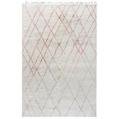 Tribal Style Modern Moroccan Wool Rug in Pink and White