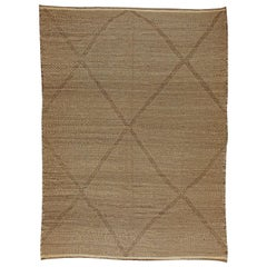 Tribal Style Moroccan Flat-Weave Brown Area Rug