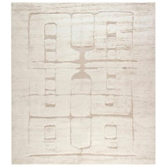 Tribal Style Moroccan Shaggy Wool Rug with High-Low Design