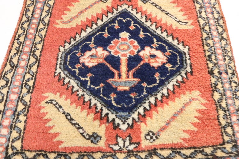 Hand-Knotted Tribal Style Vintage Persian Azerbaijan Runner, Narrow Hallway Runner For Sale