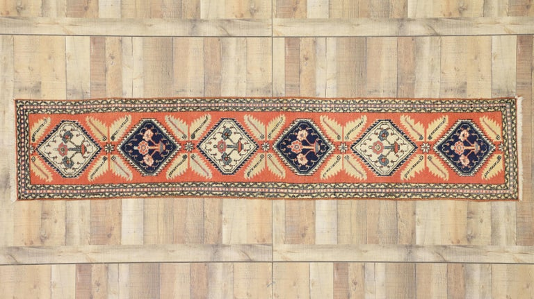 Tribal Style Vintage Persian Azerbaijan Runner, Narrow Hallway Runner In Good Condition For Sale In Dallas, TX