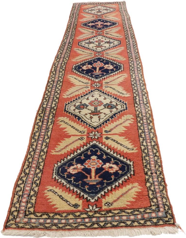Wool Tribal Style Vintage Persian Azerbaijan Runner, Narrow Hallway Runner For Sale