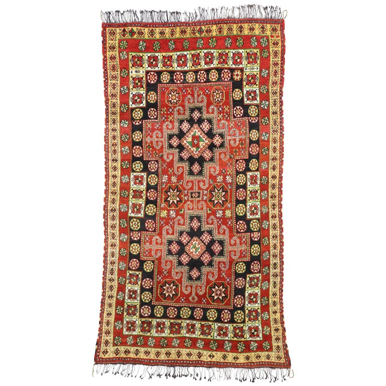Tribal Style Vintage Rabat Moroccan Area Rug For Sale At