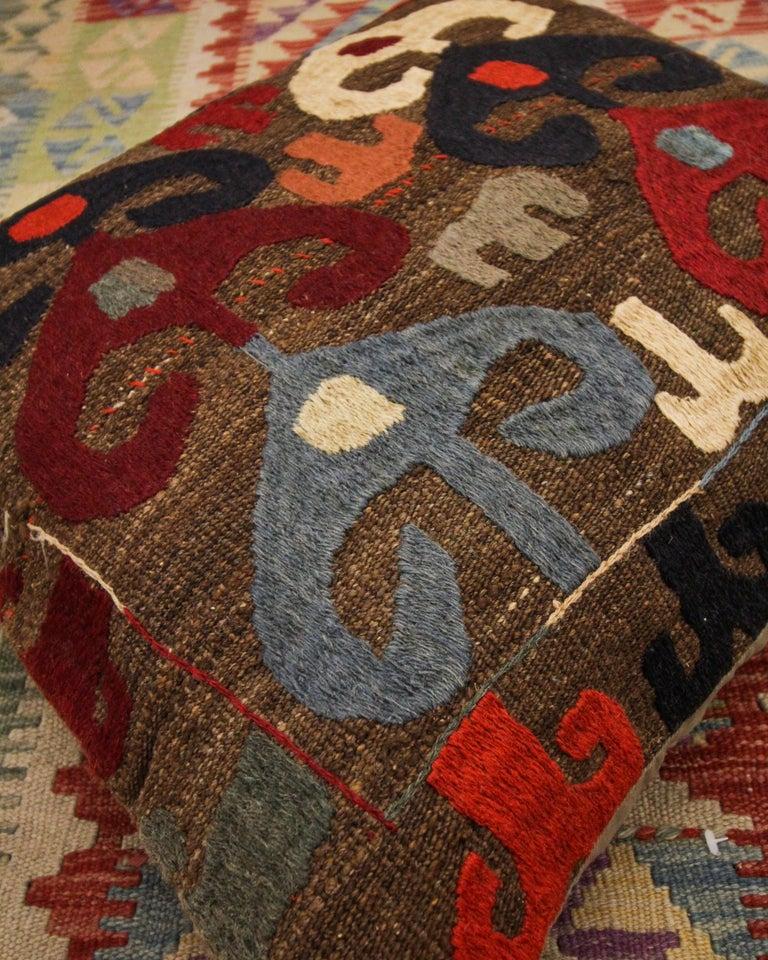 Uzbek Tribal Suzani Cushion Cover Handmade Pillow Case Wool Scatter Cushion For Sale