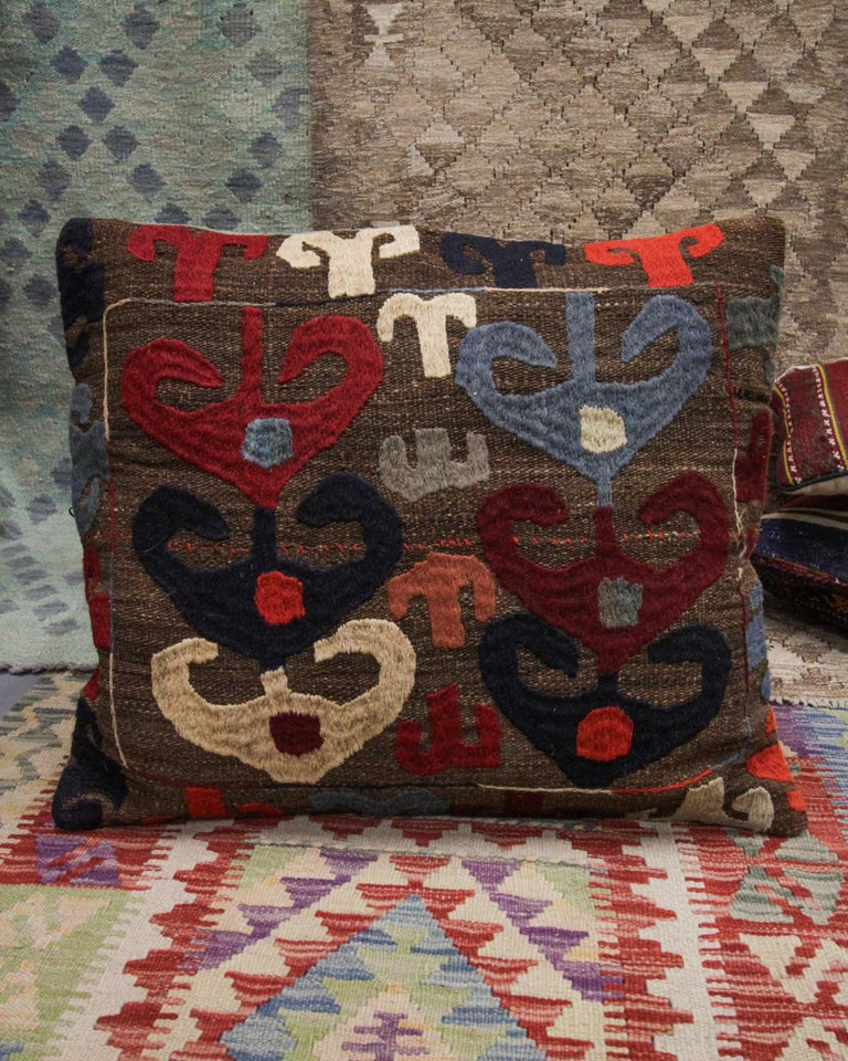 Tribal Suzani Cushion Cover Handmade Pillow Case Wool Scatter Cushion In Excellent Condition For Sale In Hampshire, SO51 8BY