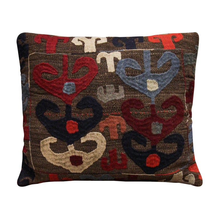Tribal Suzani Cushion Cover Handmade Pillow Case Wool Scatter Cushion For Sale