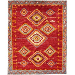 Tribal Turkish Konya Rug with Diamond Design in Beautiful Royal Red Background