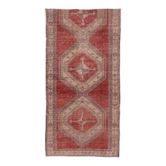 Tribal Turkish Red Oushak Rug, Lightly Distressed, Fragmented