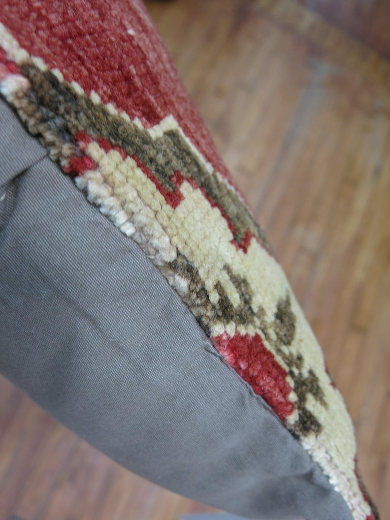 Hand-Knotted Tribal Turkish Rug Pillow For Sale