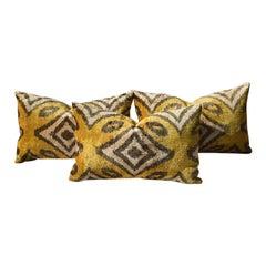 Tribal Velvet Woven Ikat Lumbar Pillow in Geometric Yellow and Dark Gray