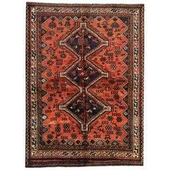 Tribal Vintage Area Rug, Rust Handmade Carpet Traditional Rug