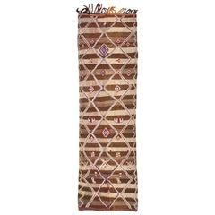 Tribal Vintage Moroccan Kilim Runner Rug. Size: 4 ft 8 in x 13 ft 2 in
