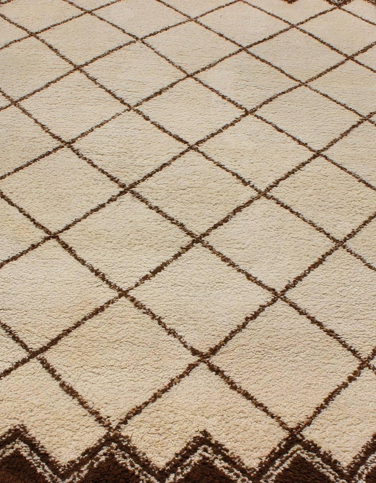 Tribal Vintage Moroccan Rug with Ivory and Brown Diamond Shapes For Sale 1