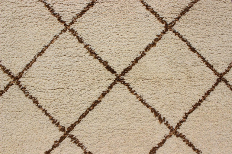 Tribal Vintage Moroccan Rug with Ivory and Brown Diamond Shapes For Sale 2