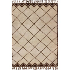 Modern Design Vintage Moroccan Rug with Ivory and Brown Diamond Shapes