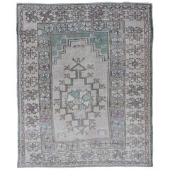 Tribal Vintage Turkish Oushak Square Rug with Medallion in Soft Green and Creams