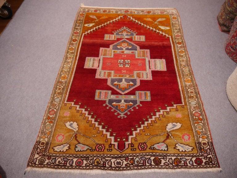 Beautiful Turkish Yoruk rug with archaic design. Very good condition.