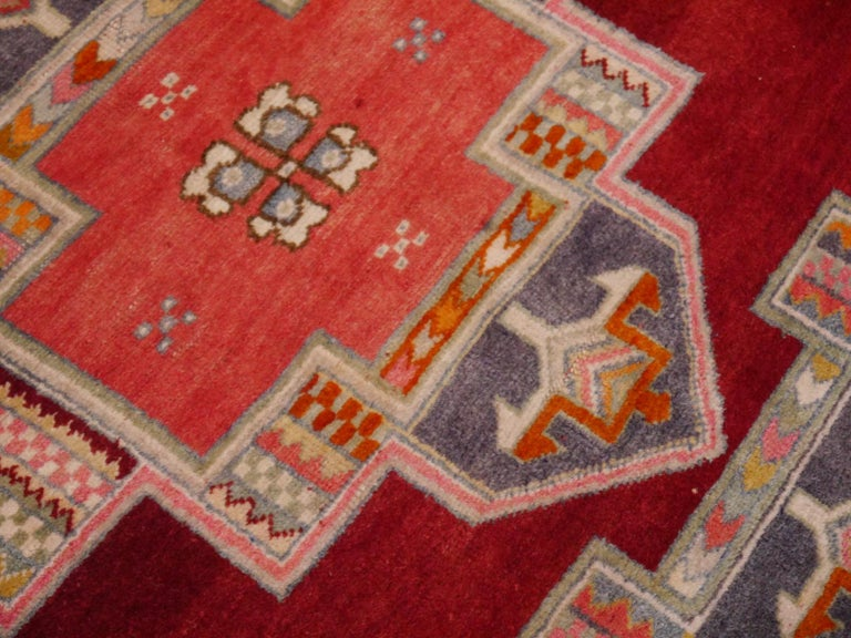 Wool Tribal Vintage Turkish Yoruk Rug For Sale