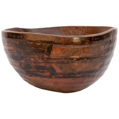 Tribal Wooden Bowl with Geometric Designs, the Fulani of Niger Late 20th Century