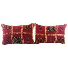 Tribal Wool Vintage Kilim Cushions, a Pair