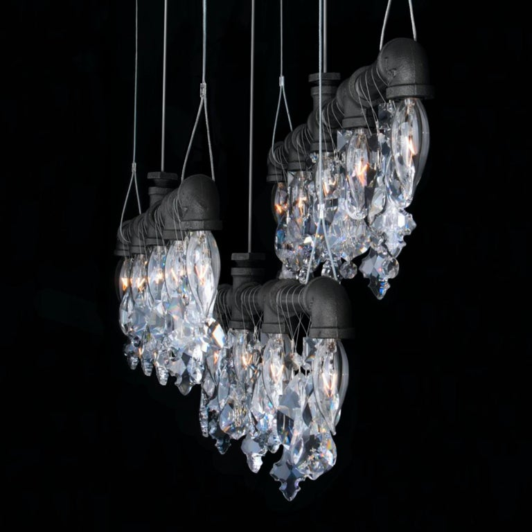 Hand-Crafted Tribeca Bar Black Steel and Crystal Industrial Chandelier Linear Suspension For Sale