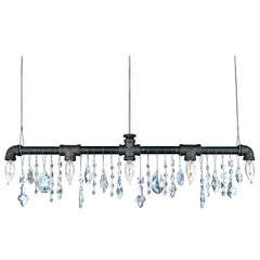 Tribeca Bar Black Steel and Crystal Industrial Chandelier Linear Suspension