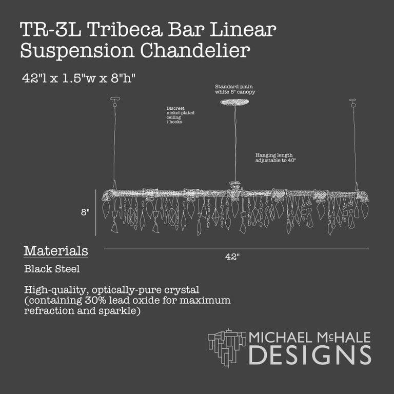 Tribeca Bar Black Steel and Crystal Industrial Chandelier Linear Suspension For Sale 4