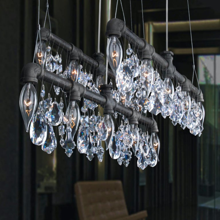 American Tribeca Bar Black Steel and Crystal Industrial Chandelier Linear Suspension For Sale
