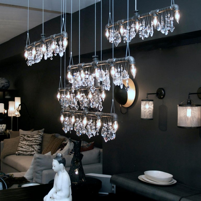 Contemporary Tribeca Bar Black Steel and Crystal Industrial Chandelier Linear Suspension For Sale