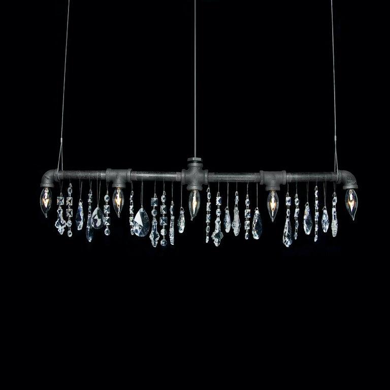 Tribeca Bar Black Steel and Crystal Industrial Chandelier Linear Suspension For Sale 1