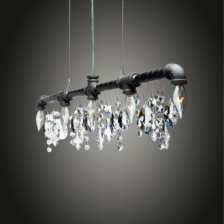 Tribeca Bar Black Steel and Crystal Industrial Chandelier Linear Suspension In New Condition For Sale In Long Island City, NY